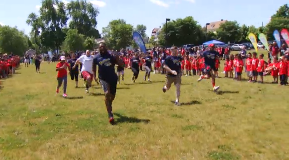 Burr School Gets Visit From Patriots Players During their Dannon Danimals Field Day