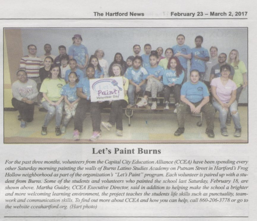 "Capital City Education Alliance's ""Let's Paint!"" Program Engages Burns School Students with Hands-on Learning and Early Intervention Workforce Readiness Skills"