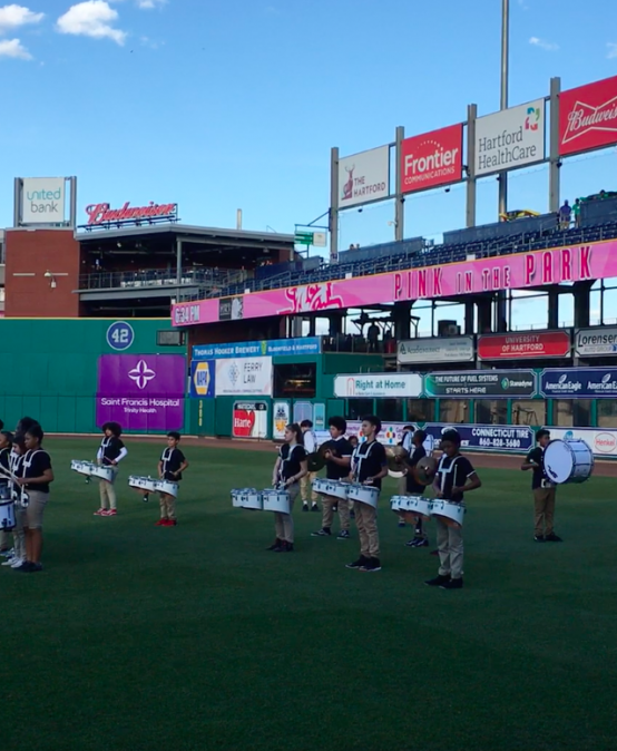 Noah Webster Drumline Performs at Yard Goat's Game