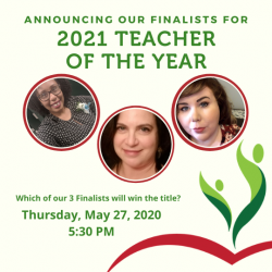 Watch the 2021 Teacher of the Year Awards LIVE Thursday, 5/27/21 at 5:30 PM!
